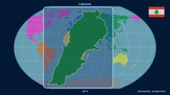 Lebanon - 3D tube zoom (Kavrayskiy VII projection). Continents - stock footage