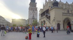 Poland, Krakow old town architecture, Market Square, Townhall, tower. Stock Footage