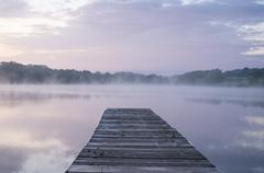 Foggy Morning by the dock - stock photo
