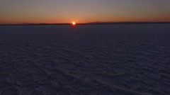 4K aerial shot of a frozen Lake Champlain in Vermont in the winter Stock Footage