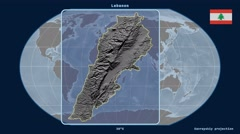 Lebanon - 3D tube zoom (Kavrayskiy VII projection). Bumps Stock Footage