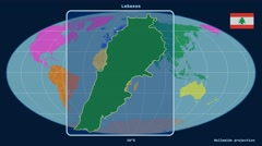 Lebanon - 3D tube zoom (Mollweide projection). Continents - stock footage