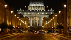 The Vatican at night Stock Footage