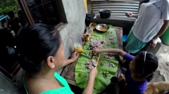 Woman and children in boodle fight Stock Footage