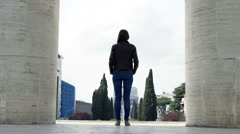 Young woman admire Italian cityscape in Rome, Italy Stock Footage