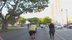 Bikes in the bike lane 4k video Stock Footage
