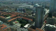 Milan aerial view of Central Station and Pirellone skyscraper Stock Footage