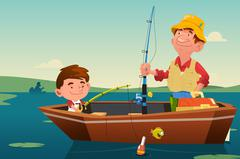 Father Son Fishing Stock Illustration