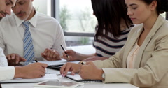 Concentrate business people during a meeting - stock footage