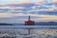 Semi Submersible Oil Rig at Cromarty Firth in Invergordon, Scotland - stock photo