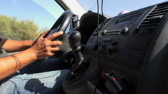 Minibus dashboard and driver hands close up Stock Footage