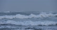 Rough ocean sea with big waves swells during stormy weather - stock footage