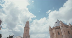 Clouds over the Dormition Abbey in Jerusalem Stock Footage