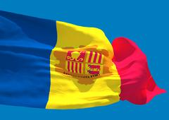 Andorra wave flag HD - stock illustration