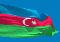 Azerbaijan wave flag HD - stock illustration