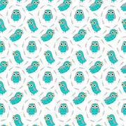 Owl turquoise vector seamless pattern. - stock illustration