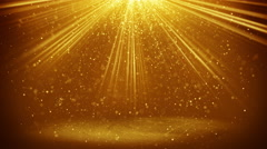 Gold light beams and particles loopable background 4k (4096x2304) Stock Footage