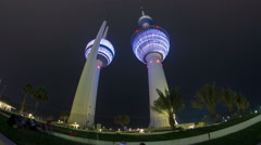 The Kuwait Towers timelapse hyperlapse - the best known landmark of Kuwait City Stock Footage