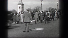 1937: Harvard University school stadium sport event crowd walking after big Stock Footage