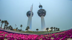 The Kuwait Towers day to night timelapse - the best known landmark of Kuwait Stock Footage