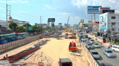 Road reconstruction on sukhumvit street time lapse 4k (4096x2304) Stock Footage