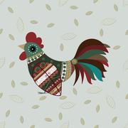 Cock bird ethnic pattern Stock Illustration