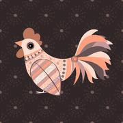 Cock bird ethnic pattern - stock illustration