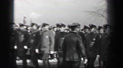 1937: Harvard University parade marching police band sousaphone trombone Stock Footage