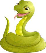 sly serpent smiling - stock illustration