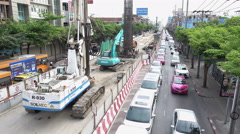 Under construction of new BTS green line on Phahonyothin road in Bangkok Stock Footage