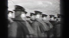 1937: Harvard University totalitarian authoritative marching soldiers in wild Stock Footage