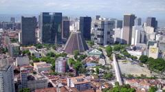 Aerial downtown and Lapa buildings Rio de Janeiro Stock Footage