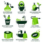 flat icon set for green eco bathroom - stock illustration