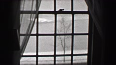 1937: Harvard University view from dorm room window campus resident buildings. Stock Footage