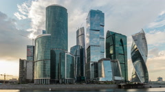 Moscow Russia skyline.Modern city skyscrapers. Sunset. Stock Footage