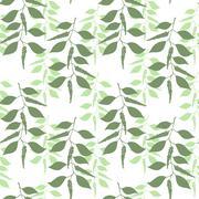 Seamless pattern leaves of green pepper - stock illustration