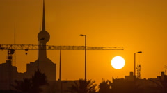 Sunrise with Kuwait Towers timelapse - the best known landmark of Kuwait City Stock Footage