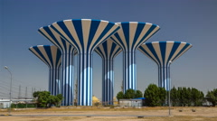 Blue and white water towers in Kuwait timelapse hyperlapse, Middle East Stock Footage