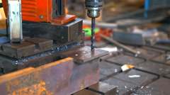 Metal drilling closeup in metal workshop Stock Footage