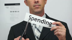 Businessman Cuts Spending Concept Stock Footage