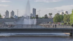 Movement across the bridge, the view of the fountain, Time lapse (Hyper lapse) - stock footage