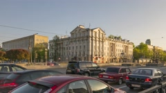 Main Street crossroad in rush hour, Yerkaterinburg, Time lapse (Hyper lapse) Stock Footage