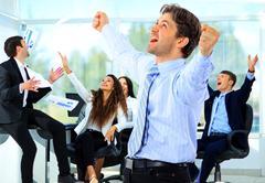 Portrait Of Happy Successful Business Group Kuvituskuvat