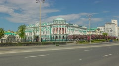 The ancient building next to the road, Yekaterinburg, Time lapse (Hyper lapse) Stock Footage