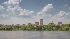 Town on the river at sunny day, Yekaterinburg, Russia, Time lapse (Hyper lapse) Stock Footage