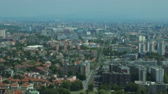 Milan, aerial view of streets and train Stock Footage