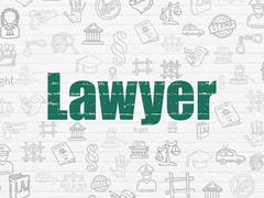 Law concept: Lawyer on wall background Stock Illustration