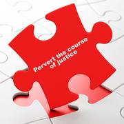 Law concept: Pervert the course Of Justice on puzzle background - stock illustration