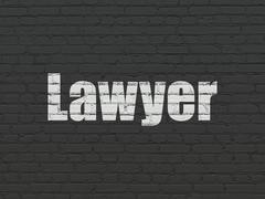 Law concept: Lawyer on wall background - stock illustration