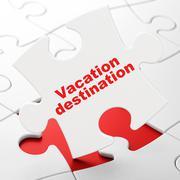 Tourism concept: Vacation Destination on puzzle background Stock Illustration